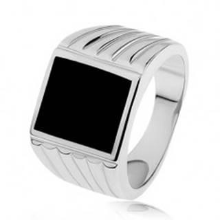 Strieborný prsteň 925, ramená so zárezmi, čierny glazúrovaný obdĺžnik S82.14 - Veľkosť: 53 mm