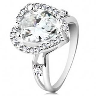Strieborný prsteň 925, rozdvojené ramená, veľká brúsená slza, zvlnený lem - Veľkosť: 48 mm