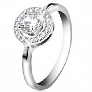 Zásnubný prsteň zo striebra 925, okrúhly číry zirkón v ligotavej obruči - Veľkosť: 51 mm