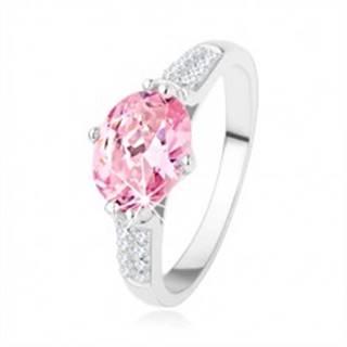 Zásnubný strieborný prsteň 925, oválny ružový zirkón, číre drobné zirkóniky SP40.01 - Veľkosť: 48 mm