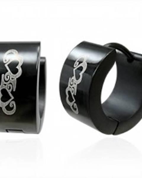 Čierne okrúhle náušnice z ocele, ornamenty - kontúry sŕdc, špirály
