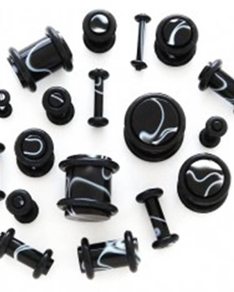 Čierny plug do ucha - biele vlnky - Hrúbka: 1,2 mm