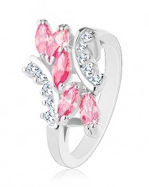 Lesklý prsteň striebornej farby, ružové zirkónové zrnká, číre zirkóniky R32.28 - Veľkosť: 49 mm