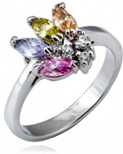 Lesklý prsteň z kovu - vejár farebných zrnkových zirkónov - Veľkosť: 49 mm