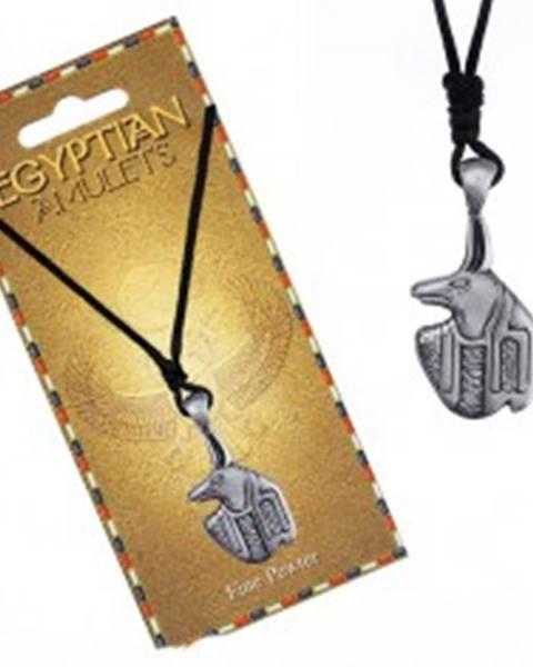 Náhrdelník - čierna šnúrka, kovový prívesok, egyptský amulet Anubis