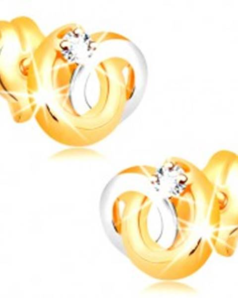 Náušnice v 14K zlate - dvojfarebné prepojené prstence, žiarivý číry briliant
