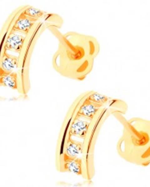 Náušnice zo žltého 14K zlata - polkruhy zdobené čírymi zirkónmi, puzetky