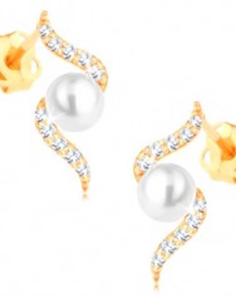 Náušnice zo žltého 14K zlata - trblietavá špirála s perlou bielej farby