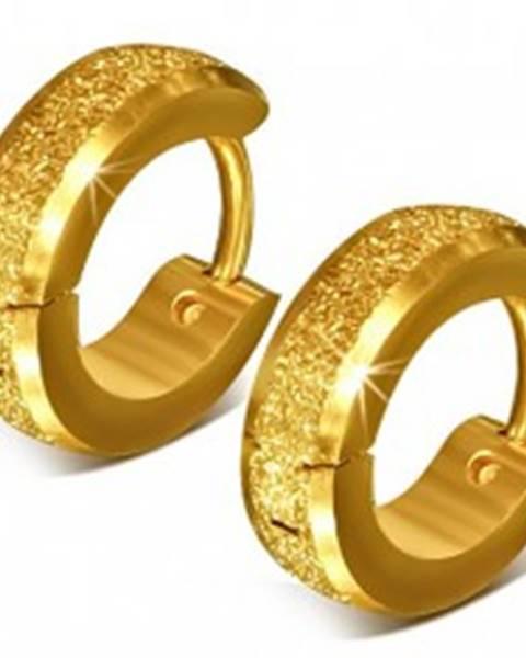 Oceľové náušnice, zlatá farba, trblietavý pieskovaný povrch, lesklé okraje