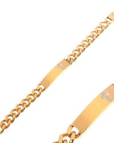 Oceľový náramok zlatej farby s čírym zirkónovým krížom na platničke