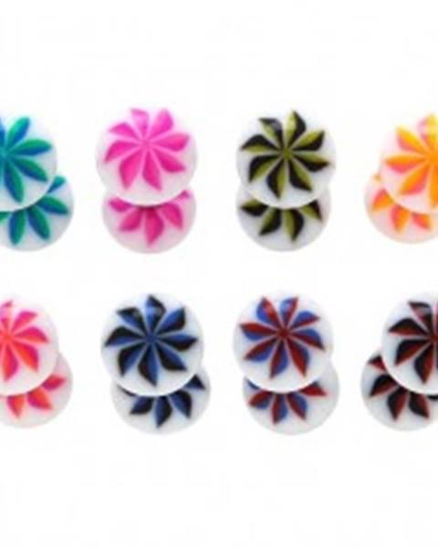 Piercing do jazyka - UV guličky, NINJA STAR - Farba piercing: Červená - Modrá