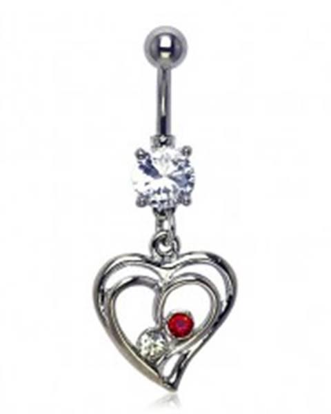 Piercing do pupku - dva zirkóniky v zamilovanom srdci