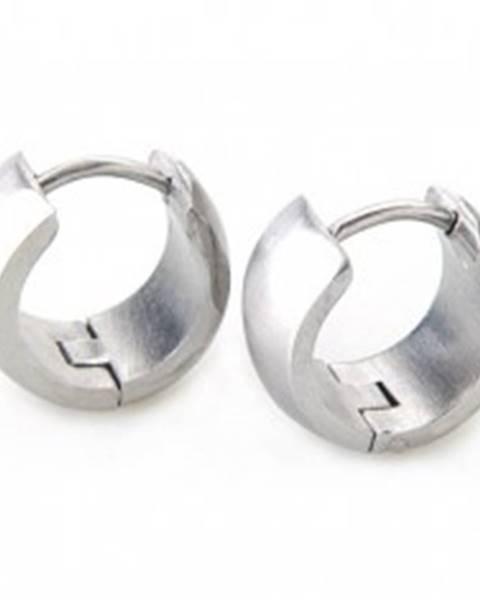 Širšie okrúhle náušnice z ocele striebornej farby, zrkadlový lesk