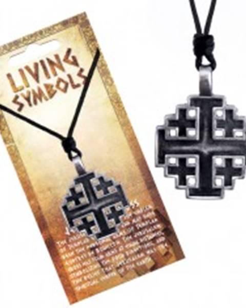 Šnúrkový náhrdelník - kovový prívesok, jeruzalemský kríž
