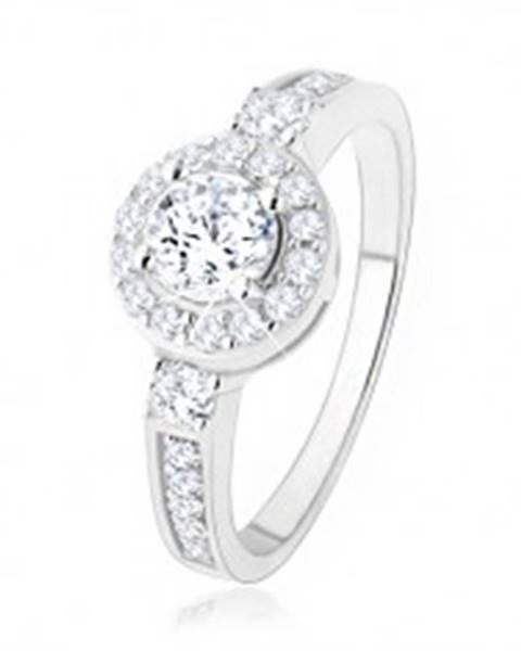 Strieborný zásnubný prsteň 925, číre zirkónové slnko, ligotavé kamienky - Veľkosť: 50 mm