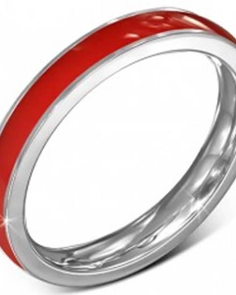Tenká obrúčka z chirurgickej ocele - červená, lem striebornej farby, 3,5 mm - Veľkosť: 49 mm