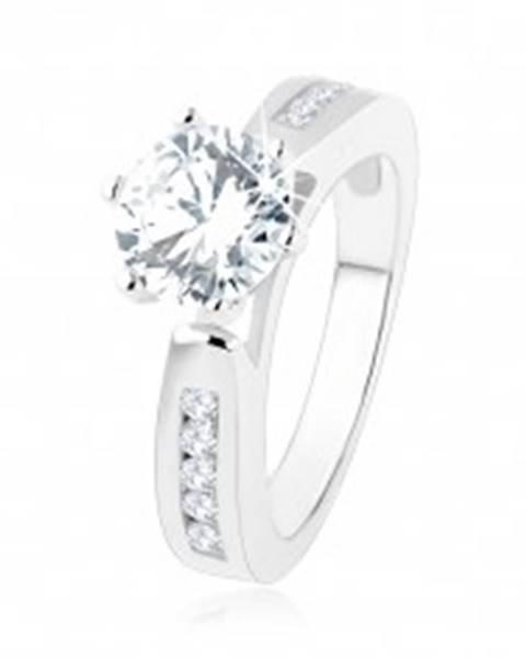 Zásnubný prsteň, zdobené ramená, okrúhly číry zirkón, výrezy, striebro 925 SP47.27 - Veľkosť: 49 mm