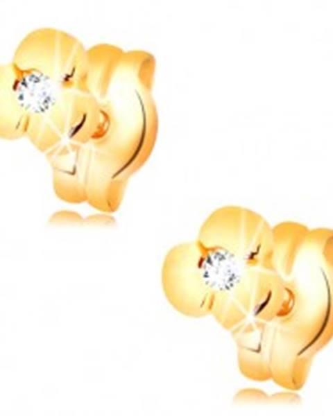 Zlaté náušnice 585 - lesklý kvietok s čírym briliantom, puzetky