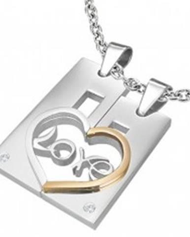 Dvojprívesok z ocele pre zamilovaných LOVE - obdĺžnik a srdce AB31.15
