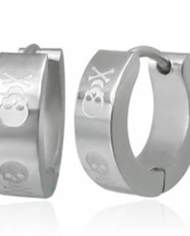 Kĺbové náušnice z ocele striebornej farby, motív lebky s prekríženými kosťami SP48.06