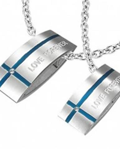 Oceľový prívesok LOVE FOREVER pre dvoch - obdĺžnik, kríž