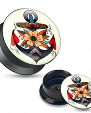 Plug do ucha z čierneho akrylu, farebný obrázok kotvy s kvetmi W04.29/35 - Hrúbka: 10 mm