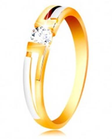 Prsteň zo zlata 585 - dvojfarebné ramená, číry zirkón v hranatom výreze GG201.08/16 - Veľkosť: 49 mm