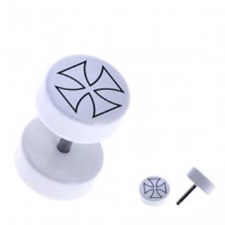 Biely fake piercing - akrylový, okrúhly, obrys maltézskeho kríža