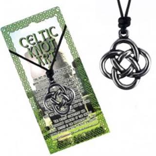 Čierny šnúrkový náhrdelník, keltský uzol zo štyroch slučiek