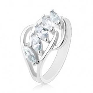 Ligotavý prsteň, línia čírych zirkónov, rozdelené konce ramien - Veľkosť: 48 mm