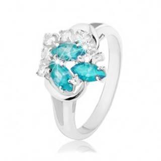 Ligotavý prsteň s rozdvojenými ramenami, svetlomodré zrnká, číre zirkóniky R34.23 - Veľkosť: 48 mm