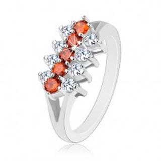 Ligotavý prsteň zdobený líniami oranžových a čírych zirkónikov - Veľkosť: 51 mm