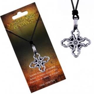 Náhrdelník – čierna šnúrka a kovový prívesok, ľaliový kríž
