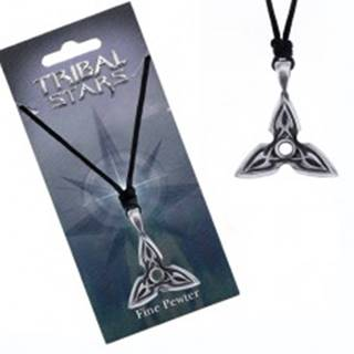 Náhrdelník - šnúrka, kovový prívesok, trojcípa hviezda, ornament