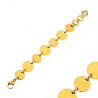 Náramok z chirurgickej ocele s lesklými plochými kruhmi v zlatej farbe AA37.21