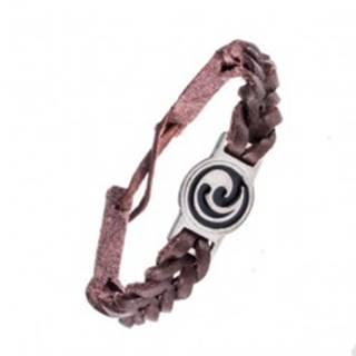 Náramok z kože - tmavohnedý, prepletený, maorský ornament AC3.07
