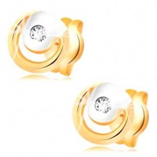 Náušnice zo 14K zlata - žiarivý číry diamant v dvojfarebnej obruči