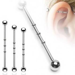 Oceľový piercing do ucha - činka so zárezmi, guličky