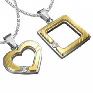 Oceľový prívesok pre zamilovaných - štvorec, srdce, zirkón R2.4