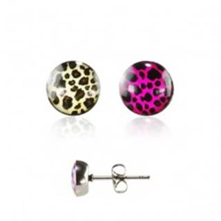 Okrúhle oceľové náušnice - farebný leopardí vzor s čírou glazúrou - Farba: Béžovo - Hnedá