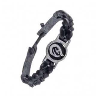 Pletený čierny náramok - kožený, tribal ornament AC3.06