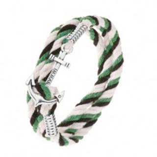 Pletený náramok z čiernej, zelenej a dvoch bielych šnúrok, lesklá kotva