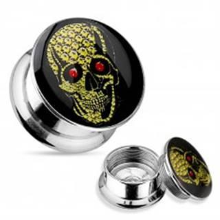 Plug do ucha z ocele 316L, strieborná farba, žltá lebka s červenými očami - Hrúbka: 10 mm