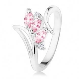Prsteň striebornej farby, zahnuté ramená, ružové a číre zirkóny R34.21 - Veľkosť: 49 mm
