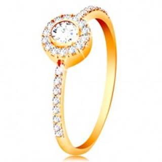 Prsteň v 14K zlate - okrúhly zirkón v trblietavej obruči, zirkónové ramená - Veľkosť: 50 mm