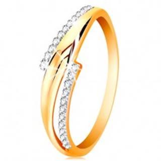 Prsteň zo 14K zlata, zvlnené dvojfarebné ramená, číre zirkónové línie - Veľkosť: 50 mm