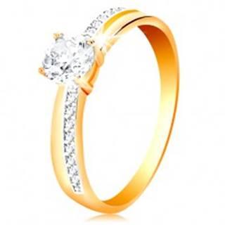 Prsteň zo zlata 585 - úzke zirkónové línie na ramenách, veľký číry zirkón - Veľkosť: 50 mm