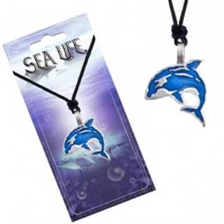 Šnúrkový náhrdelník, čierny, kovový prívesok modrej kosatky