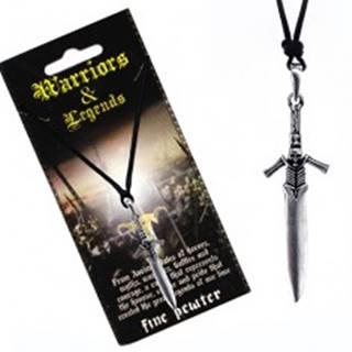 Šnúrkový náhrdelník - kovový meč s rukoväťou kostlivca