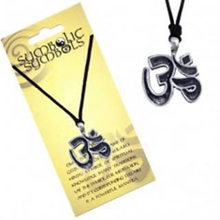 Šnúrkový náhrdelník - kovový prívesok, posvätná slabika Óm